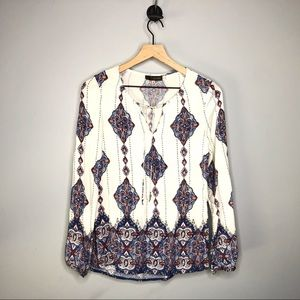 Crosby by Mollie Burch Tie Neck Ikat Paisley Top M